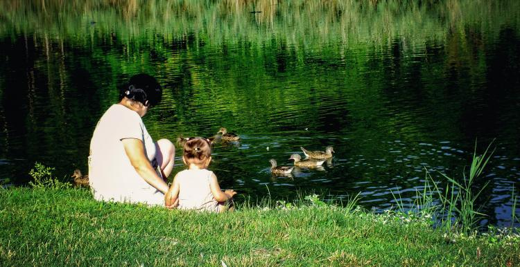 lady with baby in a park by a pond